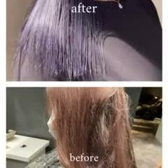 セミロング モード 髪質改善カラー ネイビーブルー ヘアスタイルや髪型の写真・画像