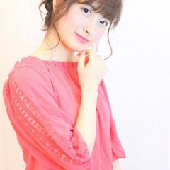 ミディアム シースルーバング ショート 簡単ヘアアレンジ ヘアスタイルや髪型の写真・画像