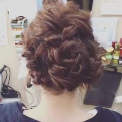 編み込み 結婚式 ヘアアレンジ ミディアム ヘアスタイルや髪型の写真・画像