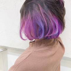 ラベンダーピンク ピンク インナーカラーパープル インナーカラー ヘアスタイルや髪型の写真・画像
