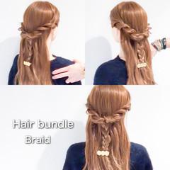 三つ編み フェミニン ヘアアレンジ ハーフアップ ヘアスタイルや髪型の写真・画像