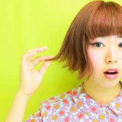 ガーリー ボブ ピンク レッド ヘアスタイルや髪型の写真・画像
