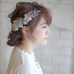 花 花嫁 セミロング ヘアアレンジ ヘアスタイルや髪型の写真・画像