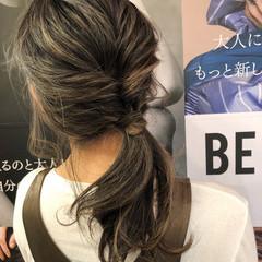 セミロング アウトドア ヘアアレンジ デート ヘアスタイルや髪型の写真・画像