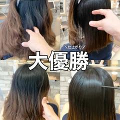 ナチュラル 縮毛矯正 ブリーチなし 前髪 ヘアスタイルや髪型の写真・画像