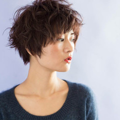 ショート マッシュ パーマ 冬 ヘアスタイルや髪型の写真・画像
