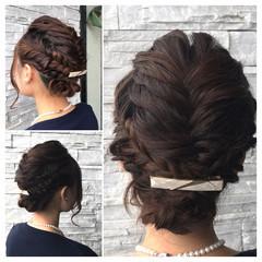 セミロング フィッシュボーン ヘアアレンジ くるりんぱ ヘアスタイルや髪型の写真・画像