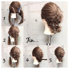 編み込み セミロング ヘアアレンジ ショート ヘアスタイルや髪型の写真・画像
