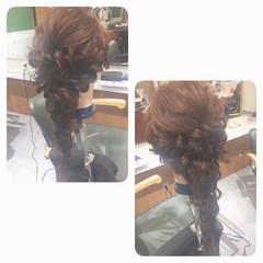 くるりんぱ 編み込み ガーリー ロング ヘアスタイルや髪型の写真・画像