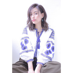 外国人風カラー イルミナカラー ロブ アッシュ ヘアスタイルや髪型の写真・画像