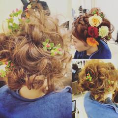 ルーズ アップスタイル フェミニン セミロング ヘアスタイルや髪型の写真・画像