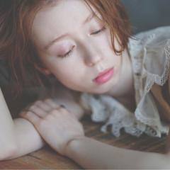 ガーリー ボブ 抜け感 オレンジベージュ ヘアスタイルや髪型の写真・画像