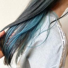 インナーブルー インナーカラー エメラルドグリーンカラー モード ヘアスタイルや髪型の写真・画像