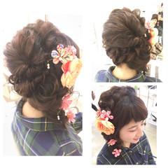 ゆるふわ フィッシュボーン 編み込み 着物 ヘアスタイルや髪型の写真・画像
