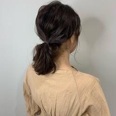 ポニーテールアレンジ ミディアム ウルフカット ナチュラル ヘアスタイルや髪型の写真・画像