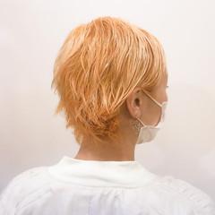 オレンジカラー ハイトーン 夏 ブリーチ ヘアスタイルや髪型の写真・画像