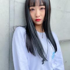 韓国風ヘアー 韓国ヘア ロング シースルーバング ヘアスタイルや髪型の写真・画像