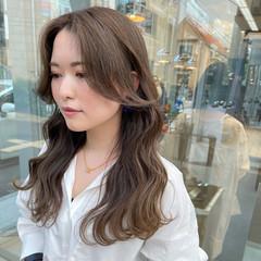 韓国ヘア 韓国風ヘアー ヨシンモリ ミルクティーベージュ ヘアスタイルや髪型の写真・画像