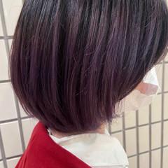バイオレットカラー ブルーバイオレット ボブ グラデーションカラー ヘアスタイルや髪型の写真・画像