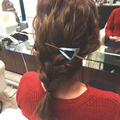 イルミナカラー ヘアアレンジ ミディアム 編み込み ヘアスタイルや髪型の写真・画像