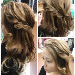 ハーフアップ ロング ルーズ 簡単ヘアアレンジ ヘアスタイルや髪型の写真・画像
