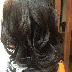 パーマ 簡単 セミロング モード ヘアスタイルや髪型の写真・画像
