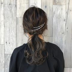 ヘアアレンジ セミロング ポニーテール ナチュラル ヘアスタイルや髪型の写真・画像