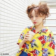 アウトドア ショート セミロング ヘアアレンジ ヘアスタイルや髪型の写真・画像