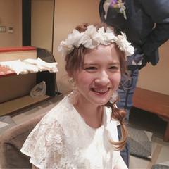 波ウェーブ 花嫁 ねじり セミロング ヘアスタイルや髪型の写真・画像