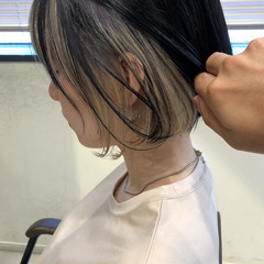 切りっぱなしボブ インナーカラー グレージュ 外国人風カラー ヘアスタイルや髪型の写真・画像