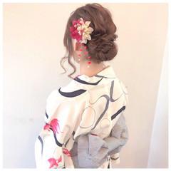 フェミニン 結婚式 ミディアム ヘアアレンジ ヘアスタイルや髪型の写真・画像