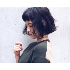 暗髪 簡単 ストリート ボブ ヘアスタイルや髪型の写真・画像