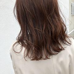 春 結婚式 ブラウン セミロング ヘアスタイルや髪型の写真・画像