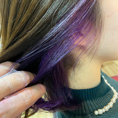 インナーカラー イルミナカラー フェミニン ボブ ヘアスタイルや髪型の写真・画像