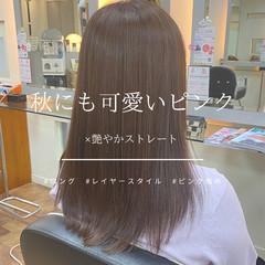 ピンクブラウン サラサラ セミロング 艶髪 ヘアスタイルや髪型の写真・画像