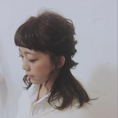 簡単ヘアアレンジ ゆるふわ ストレート ショート ヘアスタイルや髪型の写真・画像