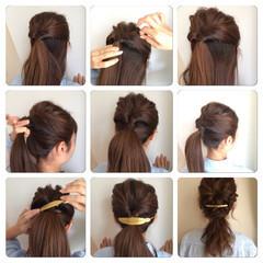 ショート 簡単ヘアアレンジ セミロング くるりんぱ ヘアスタイルや髪型の写真・画像