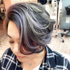 アッシュ ハイライト ショート モード ヘアスタイルや髪型の写真・画像
