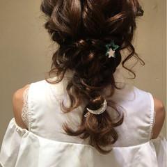 セミロング 結婚式 編み込み ヘアアレンジ ヘアスタイルや髪型の写真・画像