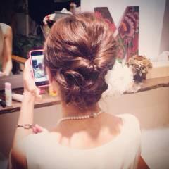 編み込み パーティ まとめ髪 大人かわいい ヘアスタイルや髪型の写真・画像