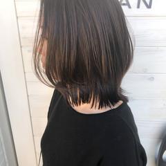 外ハネ ワンレングス ミディアム 外ハネボブ ヘアスタイルや髪型の写真・画像