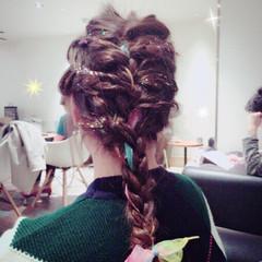 ヘアアレンジ 三つ編み セミロング ヘアスタイルや髪型の写真・画像