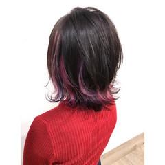 アクセサリーカラー 春 ナチュラル インナーピンク ヘアスタイルや髪型の写真・画像