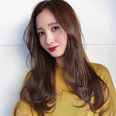 ブラウン ナチュラル 韓国ヘア ロング ヘアスタイルや髪型の写真・画像