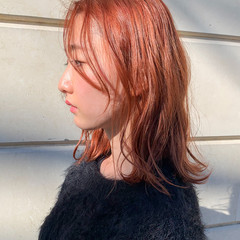 透明感カラー 韓国ヘア ナチュラル オレンジベージュ ヘアスタイルや髪型の写真・画像