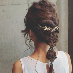 セミロング 結婚式 ヘアアレンジ ガーリー ヘアスタイルや髪型の写真・画像