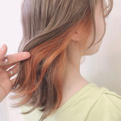 韓国 ガーリー インナーカラー ミルクティーベージュ ヘアスタイルや髪型の写真・画像