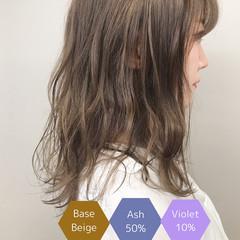ミルクティーベージュ ミディアム サロンモデル アディクシーカラー ヘアスタイルや髪型の写真・画像