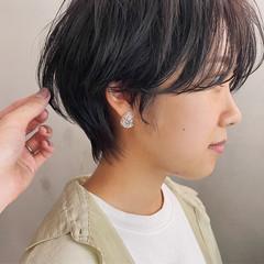 マッシュショート ショートヘア ブルーブラック ショート ヘアスタイルや髪型の写真・画像