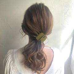 セミロング ヘアセット 簡単ヘアアレンジ セット ヘアスタイルや髪型の写真・画像